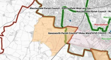 Map showing the area to be removed from Gawsworth